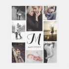Modern Look Monogram and Photos Black and White Fleece Blanket
