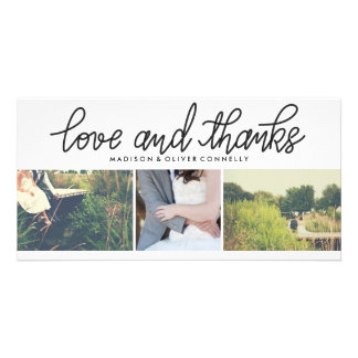 Modern Love And Thanks Wedding Three Photo Collage Photo Cards