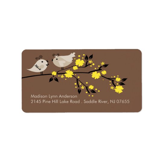 Modern Love Birds Return Address Labels. Label