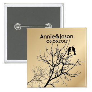 modern love birds rustic country wedding 2 inch square button