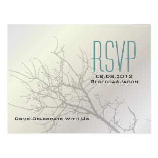 Modern Love Birds Tree white Wedding RSVP Postcard