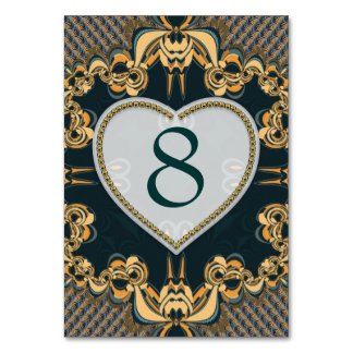 Modern Love Decor Lace Teal Gold Table Number Card