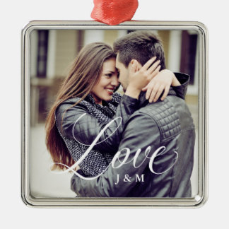 Modern Love | Elegant Calligraphy with your Photo Metal Ornament