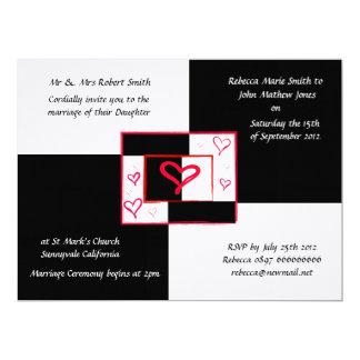 Modern love heart black white wedding invitations