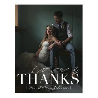 Modern Love & Thanks   Wedding Thank You Photo Postcard