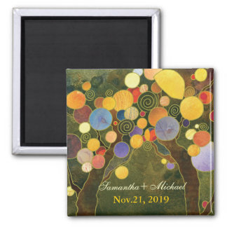 Modern Love Trees in Olive Green Save the Date Refrigerator Magnet