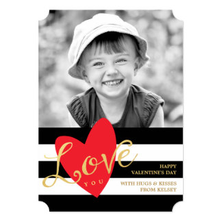 "Modern Love You Valentine's Day Photo Card 5"" X 7"" Invitation Card"