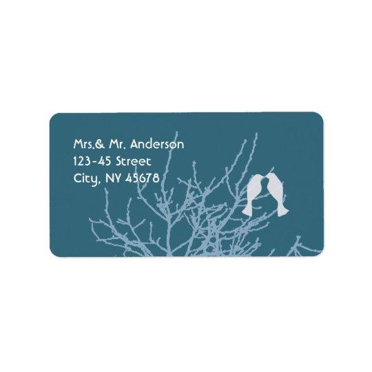 Modern LoveBirds Tree Customizable Wedding Labels