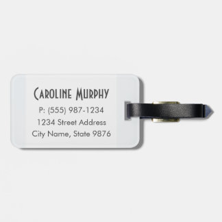 Modern Luggage Tag - Clean Simple, Clear White