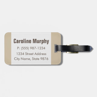 Modern Luggage Tag - Clean Simple, Natural Ivory