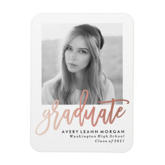 Modern Luxe Graduation Photo Magnet in Rose Gold