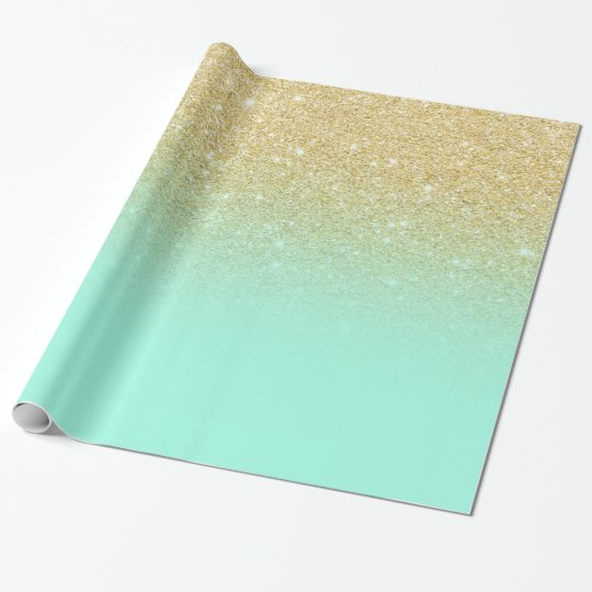Modern luxurious gold ombre turquoise block