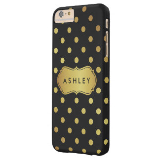 Modern Luxury Black Gold Glitter Dots Pattern Barely There iPhone 6 Plus Case