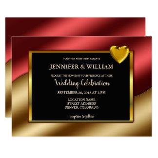 Modern Luxury red gold glitter hearts Wedding Card