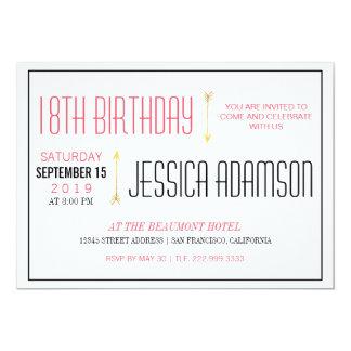 Modern Magenta & Black Typography | 18th Birthday Card