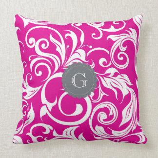 Modern Magenta Floral Wallpaper Gray Monogram Throw Pillow