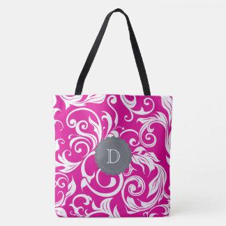 Modern Magenta Pink Gray Floral Wallpaper Monogram Tote Bag