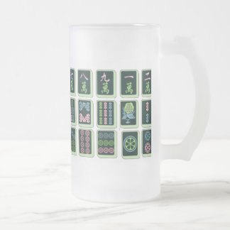 Modern Mahjong Pink, Green and Blue Frosted Glass Beer Mug