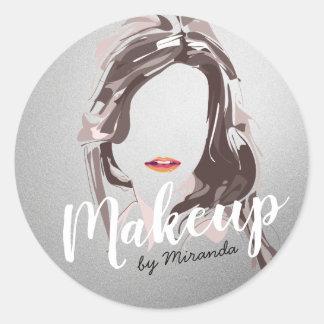 Modern Makeup Artist and Hair Stylist Beauty Salon Classic Round Sticker