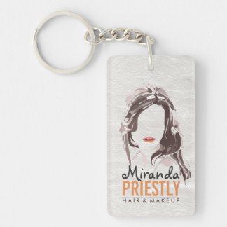 Modern Makeup Artist and Hair Stylist Beauty Salon Keychain