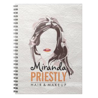 Modern Makeup Artist and Hair Stylist Beauty Salon Spiral Notebook