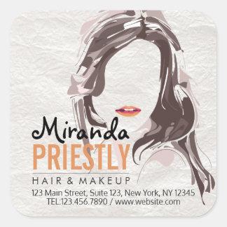 Modern Makeup Artist and Hair Stylist Beauty Salon Square Sticker