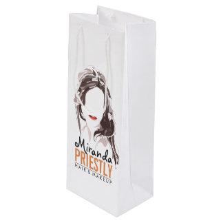 Modern Makeup Artist and Hair Stylist Beauty Salon Wine Gift Bag