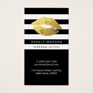 Modern Makeup Gold Lips - Chic Black White Stripes Business Card