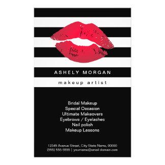 Modern Makeup Red Lips - Chic Black White Stripes Full Color Flyer