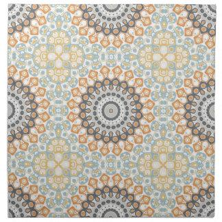 Modern Mandala in Orange and Blue Cloth Napkins