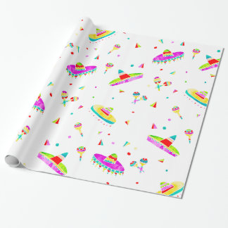 Modern maracas sombreros watercolor illustration wrapping paper