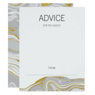 Modern Marble and Gold Wedding Advice Card