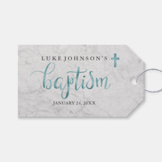 Modern Marble Blue Baptism Tags Pack Of Gift Tags