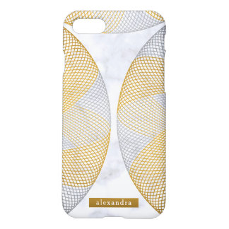 Modern Marble Gold and Silver Circles Pattern iPhone 8/7 Case