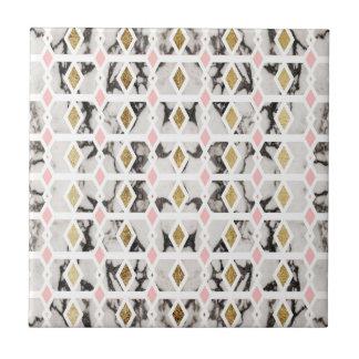 Modern Marble Gold Blush Pink Geometric Tile