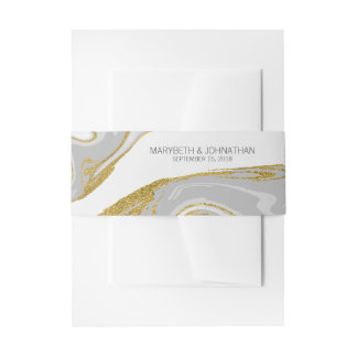 Modern Marble & Gold Wedding Invitation Belly Band