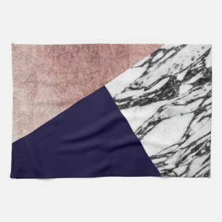 Modern Marble Rose Gold and Navy Blue Tricut Geo Kitchen Towels