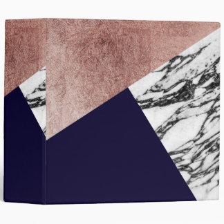 Modern Marble Rose Gold and Navy Blue Tricut Geo Vinyl Binder