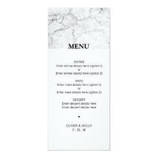 Modern marble wedding menu card