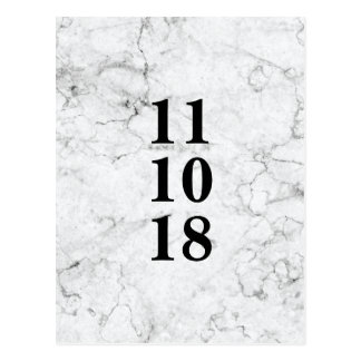 Modern marble wedding save the date postcard