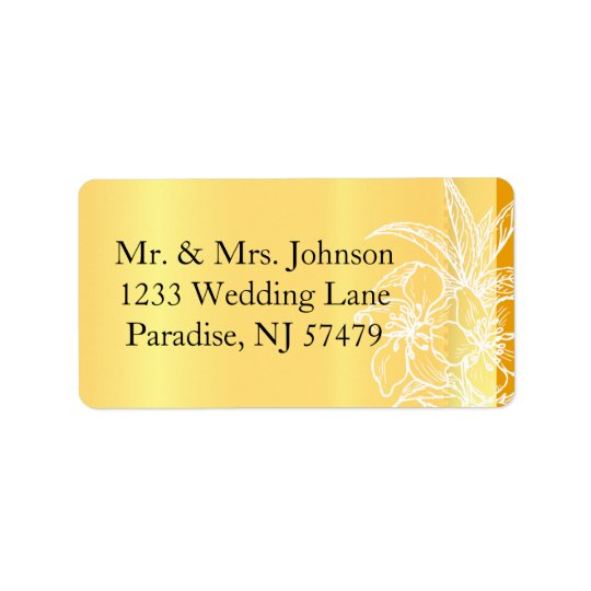 Modern Marigold Yellow & White Floral Stamp Label