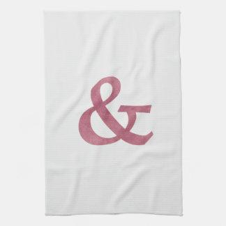 Modern Maroon Textured Ampersand And Symbol Kitchen Towel