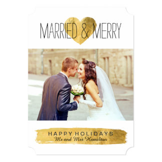 """Modern Married and Merry Christmas Photo Cards 5"""" X 7"""" Invitation Card"""