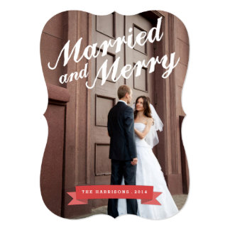 Modern Married & Merry Holiday Big Photo Card