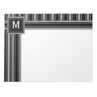 Modern Masculine Black, White and Grey Stripes Notepad