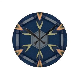 Modern Masculine Geometrical Symmetry Pattern Round Clock