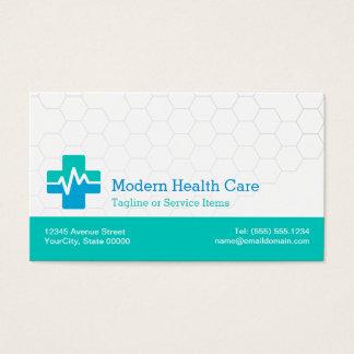 Modern Medical HealthCare - White Green Blue Business Card