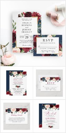 Modern meets Vintage Burgundy Floral Wedding Suite