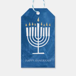 Modern Menorah Blue Hanukkah Gift Tag