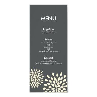 """Modern Menu Card // Posh Petals // Vanilla 4"""" X 9.25"""" Invitation Card"""